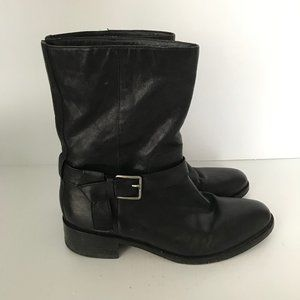 COLE HAAN Briarcliff Mid Black Leather Boots 9B
